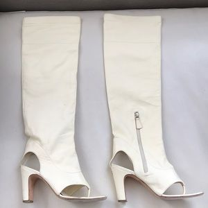 CHANEL Calf leather Sandals Boots 37.5 cream